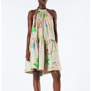 TIBI POPLIN SHORT HALTER NECK DRESS Size 2